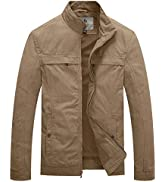 WenVen Men's Outdoor Outerwear Jacket Casual Cotton Coat Lightweight Spring Jacket