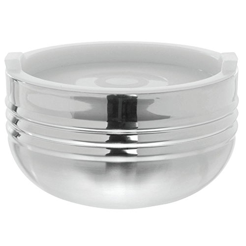 Bon Chef 9318 Stainless Steel 3 Wall Cold Wave Bowl with Stacking Cover, 1.7 Quart Capacity, 7-1/8
