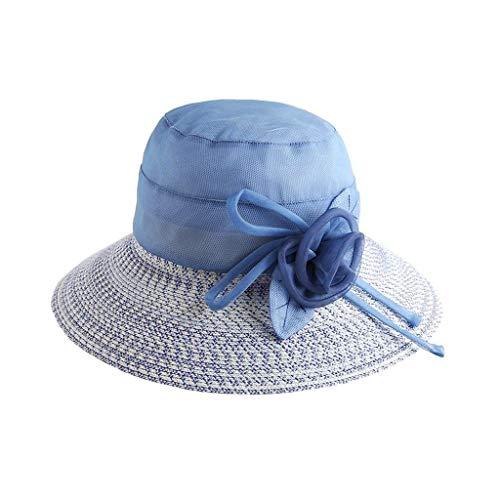 Señoras Visor D Fácil Medium Sombrero Ms Ratán Blue Verano zxqSZtH