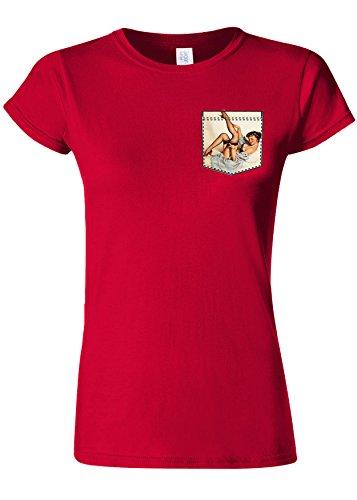 大きさ重さ王室Pin Up Girl in Pocket Funny Novelty Cherry Red Women T Shirt Top-M