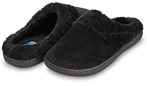 Floopi Women's Memory Foam Slippers Deluxe Clog Scuff/Mule House Slip-Ons for Indoor & Outdoor Use| Warm & Fuzzy w/Velour Fur Lining, Quilted Collar Slipper & Anti-Skid Hard Sole (M, Black-304) (Pajama Shoes)