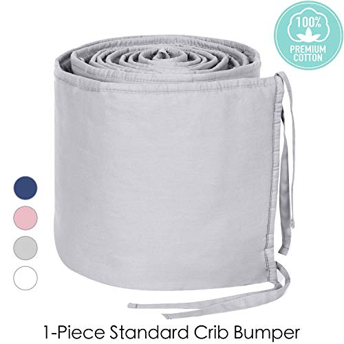 TILLYOU Cotton Collection 1-Piece Nursery Crib Bumper Pads for Standard Cribs 28x52, Machine Washable Padded Crib Liner for Babies, Safe and Soft Crib Padding Protector for Head Banging,Pale Gray