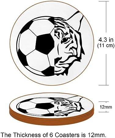 Redondo Portavasos Tigre de fútbol Posavasos de Cuero Juego de 6 Coaster para Vaso/Copa de Bebida/Copa de Vino Tinto/Copas/Vaso de Cerveza 11x11 cm