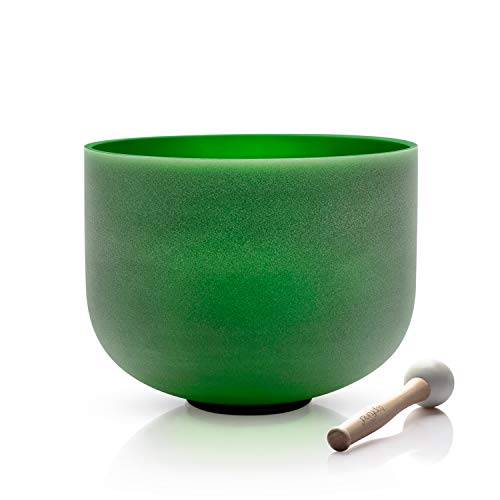 TOPFUND F Note Green Color Quartz Crystal Singing Bowl Heart Chakra 8 inch, Singing Bowl Mallet and O-ring Included