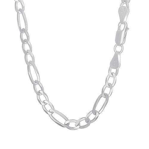 925 Sterling Silver Flat Figaro 6.8mm Wide Chain Necklace Gauge 180 Made in Italy - 24 inches