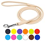 CollarDirect Rolled Leather Dog Leash 4ft, Soft Padded Training Leather Dog Lead 6ft, Puppy Leash Rolled Leather Small Medium Large Black Blue Red Orange Green Pink White (Beige, Size S 6ft)