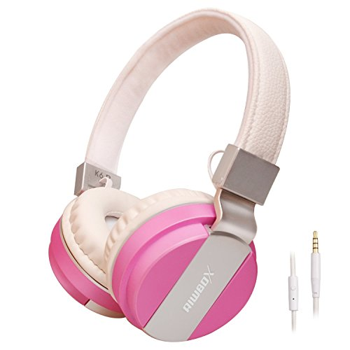 Riwbox K6 Stereo Lightweight Foldable Headphones Adjustable Headband Headsets with Microphone 3.5mm for Cellphones Smartphones Iphone Laptop Computer Mp3/4 Earphones(pink)