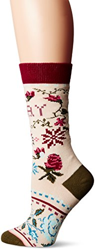 Stance Women's Slay Ride Holiday Arch Support Tomboy Crew Sock, Cream, ()