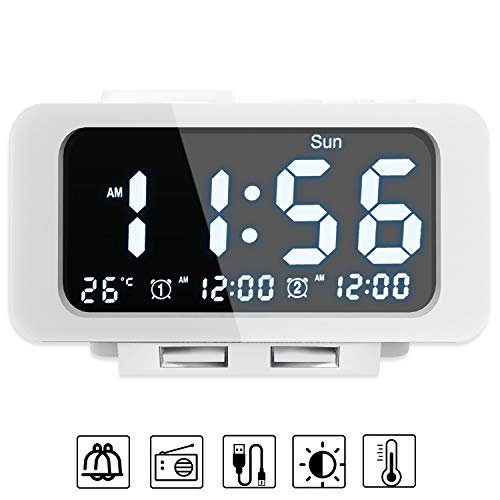 Smises Alarm Clock Radio - FM Radio, Dual USB Port for Charging, Temperature Display, Dual Alarms, 5 Level Brightness Dimmer, Adjustable Alarm Volume, Sleep Timer for Bedrooms - White