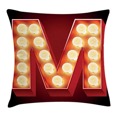 hrow Pillow Cushion Cover, Vintage Alphabet Collection of Old Movie Theaters Casinos Retro Type, Decorative Square Accent Pillow Case, 18 X 18 Inches, Vermilion Yellow Black ()