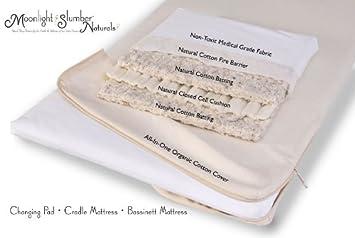 Natural Cotton Bassinett Mattress W/ All In One Organic Cotton Coverlet