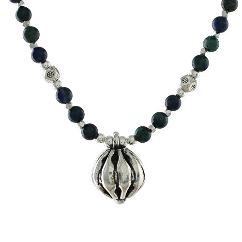NOVICA Malachite Azure .925 Sterling Silver Beaded Necklace, 18.5