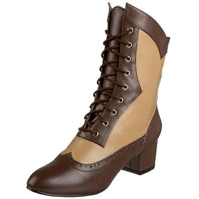 Funtasma by Pleaser Women's Victorian-110 Boot,Brown/Tan Polyurethrane,10 M