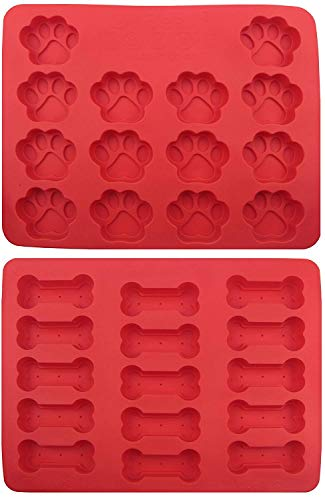 (GYBest Food Grade Large Mats Trays, Dog Pets Bones Paws Silicone Baking Molds, Bake Dog Treats For Pets, Kids, Dog-lovers, Kitchen Tips 2 Pack)