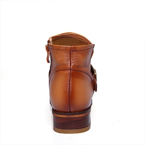 with Low Rubber Allhqfashion Thread Heels Blend Boots Soles Blend and Women's Brown Materials Materials xXrqXP8A