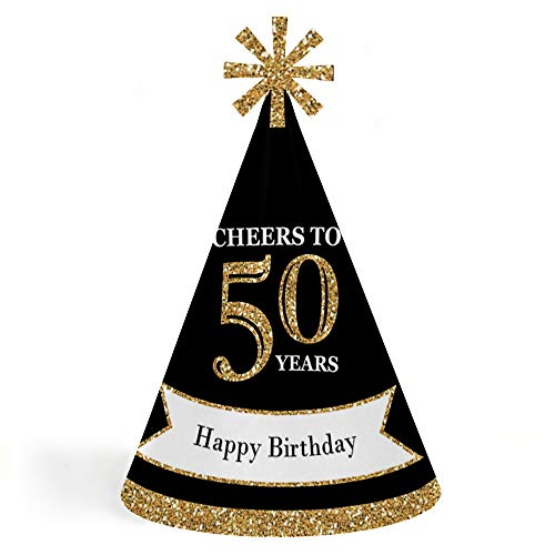 Adult 50th Birthday - Gold - Cone Birthday Party Hats for Kids and Adults - Set of 8 (Standard -