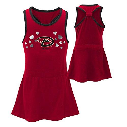 OuterStuff MLB Arizona Diamondbacks Toddler Girls Criss Cross Tank Top, 4T, Bright (Mlb Dress)