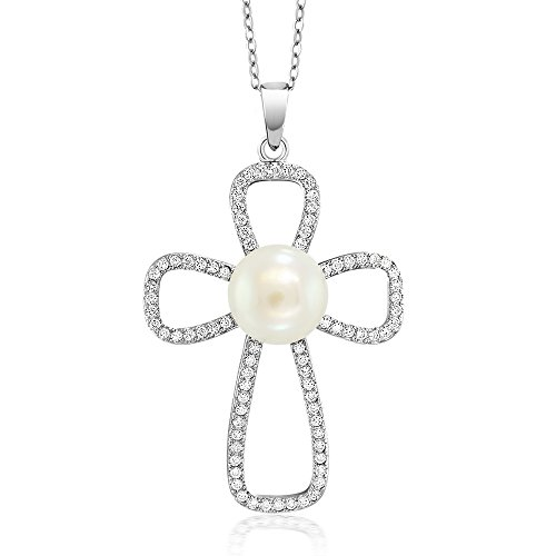 Timeless 10MM Cream Cultured Freshwater Pearl 925 Sterling Silver Cross Pendant Necklace With 18 Inch Silver Chain