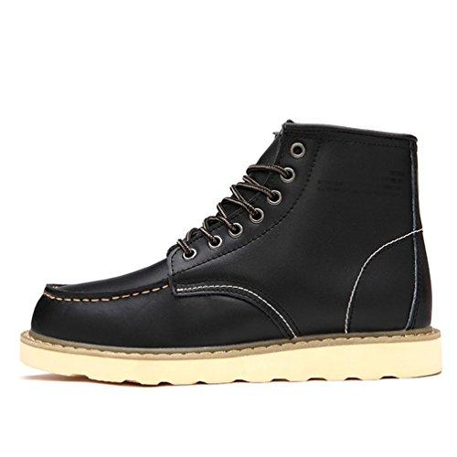 CHENGYANG Herren Schneestiefel Outdoor Boots Winter Stiefel Warm Gefütterte Winterschuhe Schwarz#Dicker