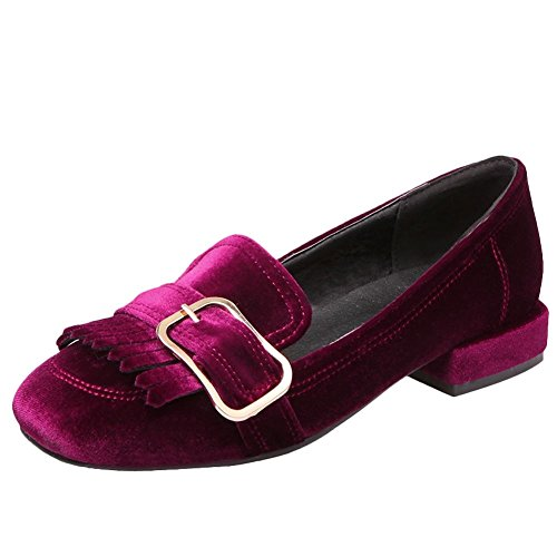 Carolbar Women's Western Charm Tassels Flat Square Toe Court Shoes Red 74oPjh