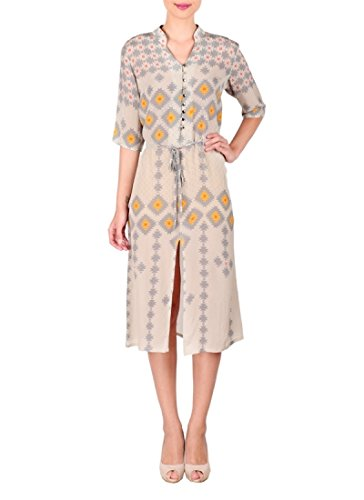 Silber Shirt Kleid von sougat Paul/indischen Designer Kleider in Crepe