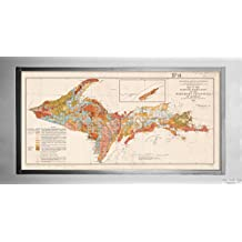 New York Map Company (™) 1911 Map Michigan|upper peninsula|of the surface formations of the Northern Peninsula of Michiga|Historic Antique Vintage Reprint|Ready to Frame