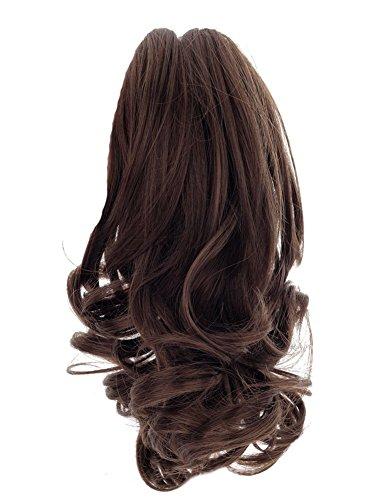Gracefulvara Women Short Wavy Curly Claw Ponytail Clip in/on Hair Extension Hairpiece Gift (Dark (Brown Ponytail Wig)
