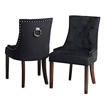 My Furniture Chaise De Salle A Manger Anneau Au Dos Velours Noir