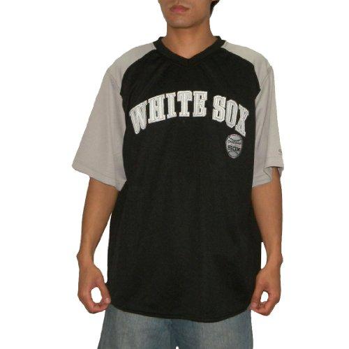 MLB Chicago White Sox Mens PRO QUALITY Athletic Dri Fit Baseball Jersey 2X-Large Black & Grey