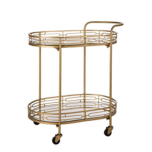 Glitzhome 2-Tier Deluxe Oval Gold Bar Carts Mirrored Glass Top Metal Serving Cart,30