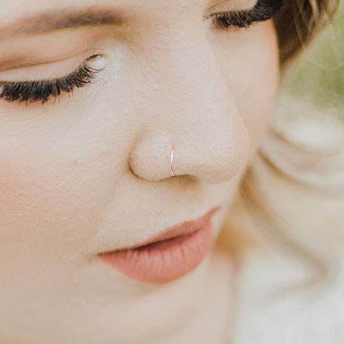 Ring Nose - Rose Gold Nose Ring Hoop, Adjustable Delicate Thin Piercing Jewelry - 24 Gauge 7mm - 9mm for Women