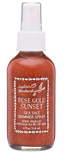 Captain Blankenship Rose Gold Sunset Sea Salt Shimmer Hair Spray with Natural Mica, Texturizing and Volumizing, Organic, Paraben Free, Sustainable Packaging, 4 Ounce Spray Bottle, 1 Count