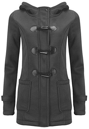 U-shot - Abrigo con capucha de invierno para mujer, con botones de cuerno gris oscuro