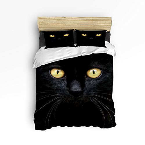 Pink Sky Full Size Cute Duvet Cover Set Twill Plush Bed Sets for Kids Children,Black 3D Cat Face with Yellow Eyes Pattern Adult Bedding Sets,Include 1 Duvet Cover 1 Bed Sheets 2 Pillow Case ()