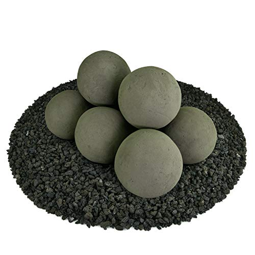 Ceramic Fire Balls   Set of 8   Modern Accessory for Indoor and Outdoor Fire Pits or Fireplaces – Brushed Concrete Look   Charcoal Gray, 5 Inch