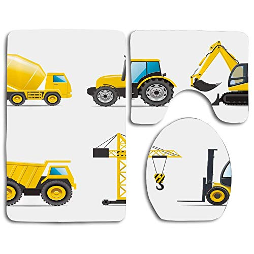 EnmindonglJHO Cartoon Style Heavy Machinery Truck Crane Digger Mixer Tractor Construction Thicken Skidproof Toilet Seat U Shaped Cover Bath Mat Lid Cover