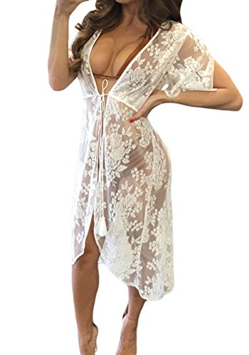 (Shawhuwa Womens Sexy Floral Sheer Lace Bikini Cover up Summer Beach Dress (X-Small, White))