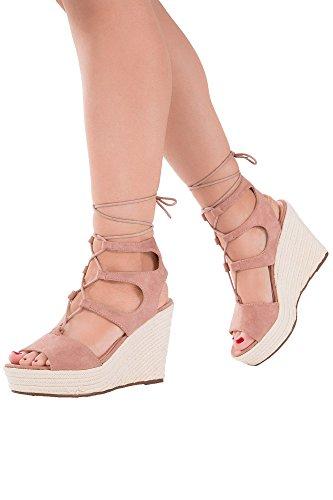 Lusty Chic - Sandalias de vestir de Material Sintético para mujer Pink Lace Up