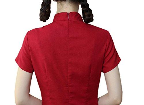 Acvip Col Qipao Femme Haut Manche Robe Chinois Un Vêtement Cheongsam Rouge Courte Avec rYxSrBwp