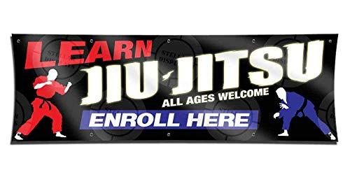 Learn JIU Jitsu (3ft X 9ft) Banner Enroll Sign Martial Arts School Academy Display Registration Poster