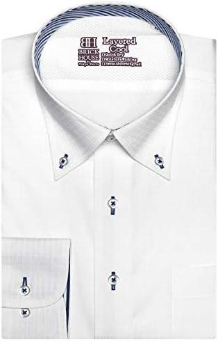 ブリックハウス ワイシャツ 長袖 形態安定 レイヤードクール ボタンダウン 袖の長い・大きいサイズ メンズ BM010300AB13B3M-90