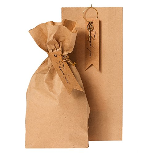Ling's moment 25 Pcs Brown Kraft Paper bags Gift Bags 7 x 3 x 1 Inches Good for Candy Buffets, Birthday party Baby Bridal Shower golden Ring Merchandise