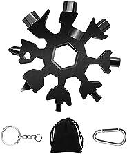 Snowflake Multitool,1 PCS Black 18-in-1 Snowflake Standard Multi Tool, Stainless Steel Snowflake Wrench with K