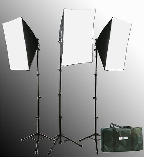 Fancierstudio 2400 watt lighting kit softbox light kit video lighting kit with Background stand 6'x9' Black, White and Chromakey green backdrop by Fancierstudio UL9004S3 6x9BWG by Fancierstudio (Image #2)