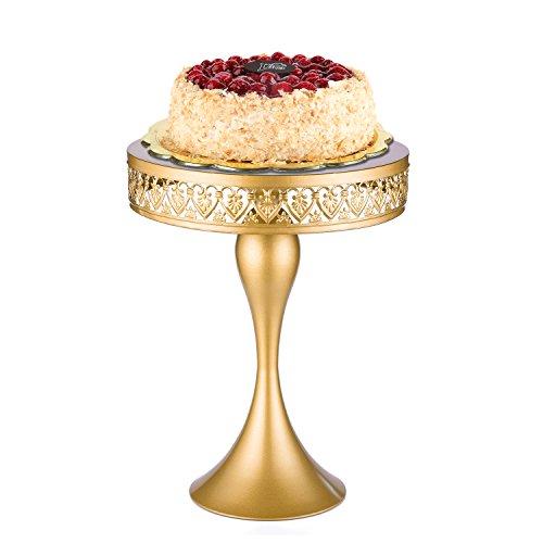 18K Gold Mermaid Antique Metal Cake Stand, Round Cupcake Stands, Wedding Birthday Party Dessert Cupcake Pedestal/Display/Plate (Round Pedestal Cake Plate)