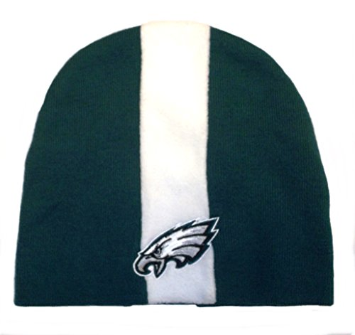 Reebok Womens Nfl Eagles (Philadelphia Eagles Skunk Cuffless Striped Skull Cap - NFL Knit Toque Beanie Hat)