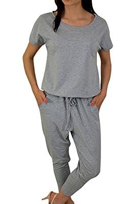 Fixmatti Women Casual Crewneck Short Sleeve Drawstring Harem Pant Set Jumpsuit