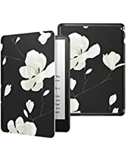 MoKo Slim Case for Kindle Paperwhite (11th Generation-2021) - Thinnest Lightest Smart Cover with Auto Wake/Sleep - Only Fit Kindle Paperwhite 11th Generation 2021 Released, Black & White Magnolia