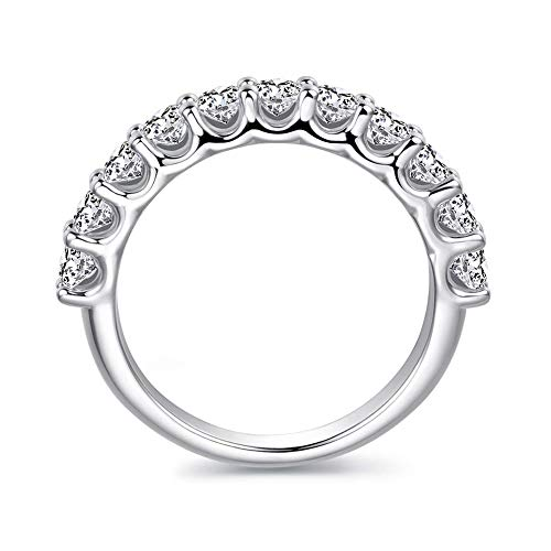 3mm Rhodium Plated Sterling Silver Simulated Diamond Cubic Zirconia CZ Half Eternity Wedding Band Ring, 1.1cttw (8.5) ()