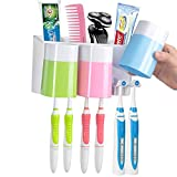 WARMLIFE Toothpaste Dispenser Toothbrush Holder Natural Wheat Straw Anti-dust with 3 Cups Easily Wall Mounted Electric Toothbrush Storage Set (RGB Block)